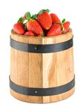 Wooden barrel with strawberries Royalty Free Stock Photo