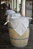Wooden barrel table. Mantova - Italy Royalty Free Stock Photo