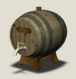 Wooden barrel with a tap on the legs and a sign Royalty Free Stock Photos