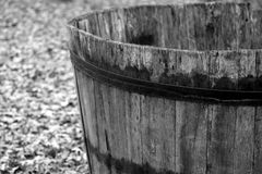Wooden barrel to harvest grapes during the harvest Royalty Free Stock Photography