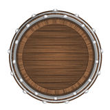 Wooden barrel top object 3D design isolated. On white vector illustration Royalty Free Stock Photography