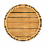 Wooden barrel top view. 3d rendered illustration.  on white background. Clipping path included Stock Images