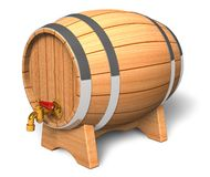 Wooden barrel with valve. Wooden wine/beer barrel with valve isolated over white background stock illustration