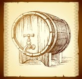 Wooden barrel vector Royalty Free Stock Photo