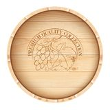 Wooden barrel with vine label. Royalty Free Stock Images