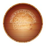 Wooden barrel with vine label. Stock Image