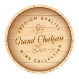 Wooden barrel with vine label. Royalty Free Stock Photo
