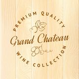 Wooden barrel with vine label. Stock Photos