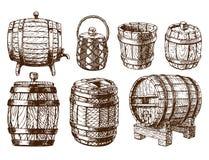 Wooden barrel vintage old hand drawn sketch storage container liquid beverage fermenting distillery cargo drum lager. Wooden barrel vintage old style oak storage vector illustration