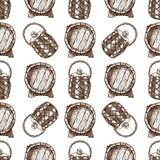 Wooden barrel vintage old hand drawn sketch storage seamless pattern fermenting distillery cargo drum lager vector. Wooden barrel vintage old style oak storage stock illustration