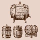 Wooden barrel vintage old hand drawn sketch storage container liquid beverage fermenting distillery cargo drum lager. Wooden barrel vintage old style oak storage royalty free illustration