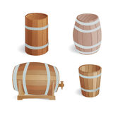 Wooden barrel vintage old style oak storage container and brown isolated retro liquid beverage object fermenting Stock Images