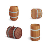 Wooden barrel vintage old style oak storage container and brown isolated retro liquid beverage object fermenting Stock Photography