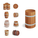 Wooden barrel vintage old style oak storage container and brown isolated retro liquid beverage object fermenting Royalty Free Stock Photo