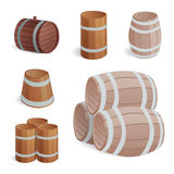 Wooden barrel vintage old style oak storage container and brown isolated retro liquid beverage object fermenting Royalty Free Stock Images