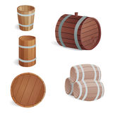 Wooden barrel vintage old style oak storage container and brown  retro liquid beverage object fermenting Stock Photography