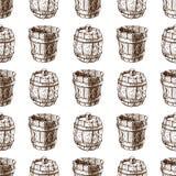Wooden barrel vintage old hand drawn sketch storage seamless pattern fermenting distillery cargo drum lager vector royalty free illustration