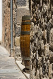 The Wooden barrel. By the wall royalty free stock images