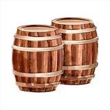 Wooden barrel. Watercolor sketch Stock Image