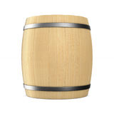Wooden barrel on white background. Isolated 3D. Illustration Royalty Free Stock Photo