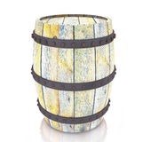 Wooden barrel on white Royalty Free Stock Images