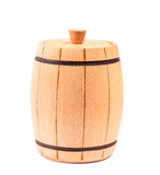 Wooden barrel on white Stock Photography