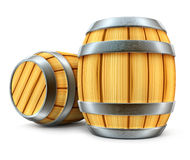 Wooden barrel for wine and beer storage isolated Stock Photos