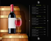 Wooden barrel with wine bottle and wineglass. Vessel for keeping. Vector illustration. Wooden barrel with wine bottle and wineglass. Vessel for keeping alcohol royalty free illustration