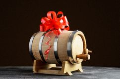 Wooden barrel for wine with bow royalty free stock image