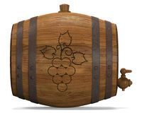 Wooden barrel. For wine. 3D illustration Royalty Free Stock Image