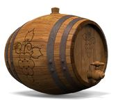 Wooden barrel for wine. 3D illustration Royalty Free Stock Photos