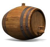 Wooden barrel for wine. 3D illustration Royalty Free Stock Photography