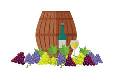 Wooden Barrel with Wine. Different Grapes Sorts . Royalty Free Stock Images