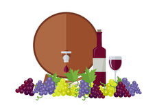 Wooden Barrel with Wine. Different Grapes Sorts . Stock Image