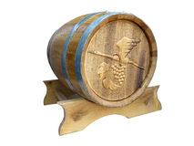 Wooden barrel for wine isolated over white Stock Images