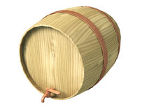 Wooden barrel. For wine   isolated on white background Royalty Free Stock Images
