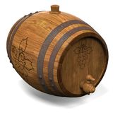 Wooden barrel for wine. 3D illustration Royalty Free Stock Images