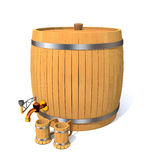Wooden barrel with wine and wooden clubs. Stock Photography