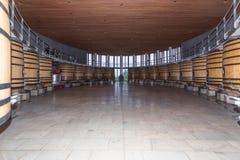 Wooden Barrel for winemaking. Oak tanks or Barrel for wine fermentation and  aging / storage Stock Image