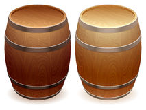 Wooden barrels. Set of two wooden barrels Stock Photo