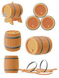 Wooden barrels. Collection of wooden barrels for different purposes Royalty Free Illustration