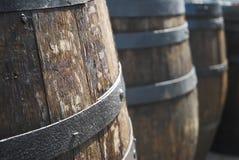 Wooden Barrels. Old wooden barrels in a line Stock Photos
