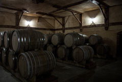 Wooden barrels of aged cognac at cellar of Brandy Factory Noy. Of Yerevan, Armenia Royalty Free Stock Photography
