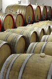 Wooden barrels for ageing, maturing and storing of wine Stock Images