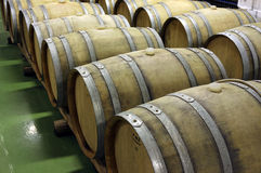 Wooden barrels for ageing, maturing and storing of wine 3 Royalty Free Stock Photography
