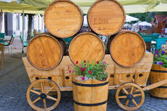Wooden barrels on an cart . Royalty Free Stock Photography