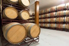 Wooden barrels in  cellar Royalty Free Stock Photos