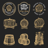 Wooden barrels collection for alcohol drinks icons or signs. Hand sketched kegs emblems. Whiskey,beer,wine logotype set. Royalty Free Stock Photo