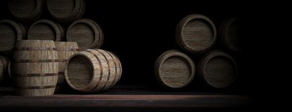 Wooden barrels on dark background. 3d illustration. Wooden wine barrels on dark background. 3d illustration Royalty Free Stock Images