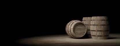 Wooden barrels on dark background. 3d illustration. Wooden wine barrels on dark background. 3d illustration Royalty Free Stock Photos
